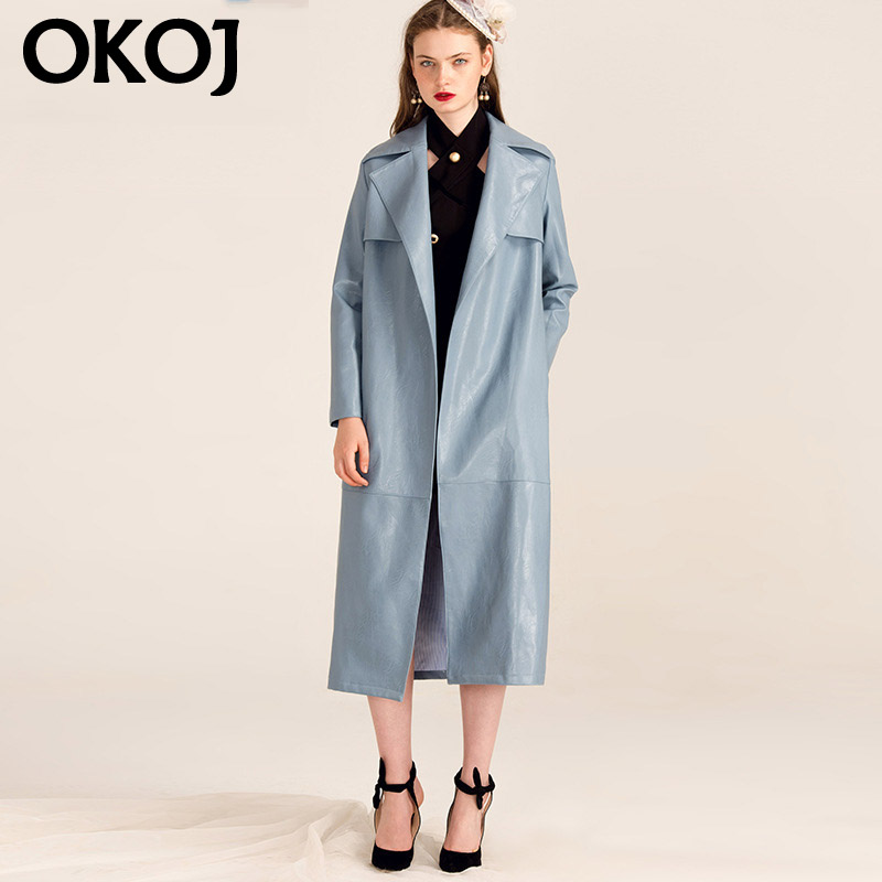 New autumn and winter fashion style okoj2016 artificial leather and long sections fur coat wind coat solid color coat women