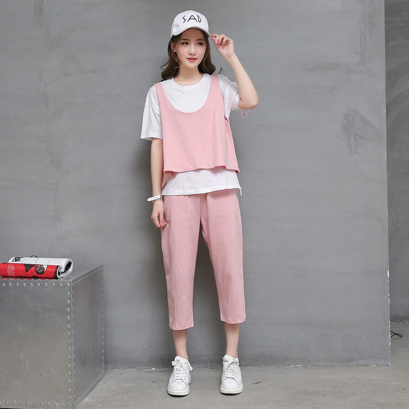 New casual sports suit sports suit 2016 summer pants women korean version of casual sports two sets