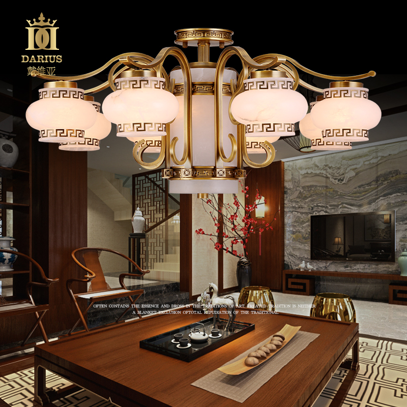 New chinese copper spain full of natural marble lamps marble lamps marble lamps copper chandelier villa complex style clubhouse