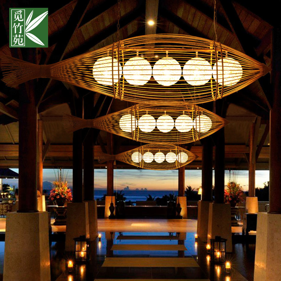 New chinese garden living room dining restaurant lights balcony aisle chandelier chandelier southeast asian style bamboo chandelier imitation fish