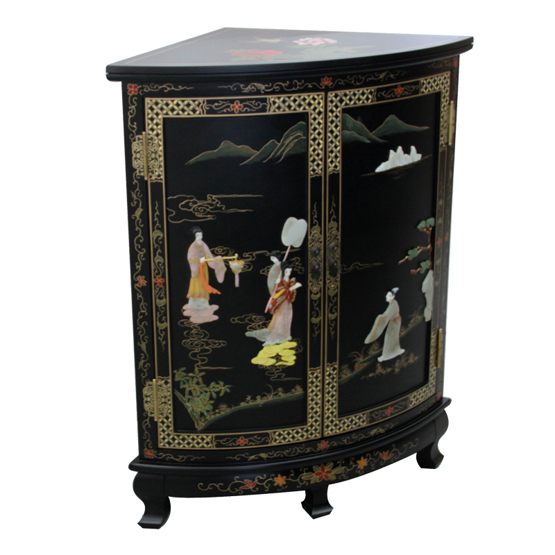 Get Quotations New Clical Chinese Bone Inlaid Stone Figure Lacquer Furniture Corner Cabinet Side Storage Cabinets