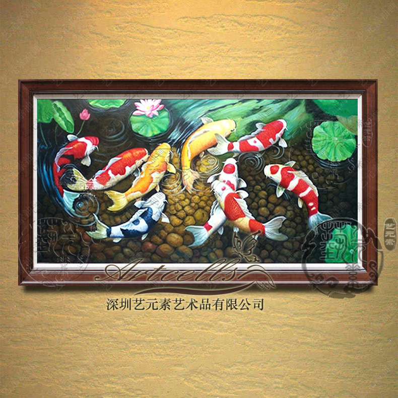 New classical chinese restaurant entrance den villa art elements painted oil painting decorative painting rich carp YDY006