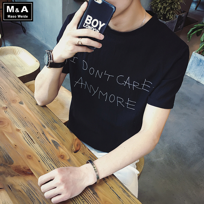 New cotton summer youth short sleeve personality jane about embroidery letter loose short t-shirt men thin section sleeve big yards