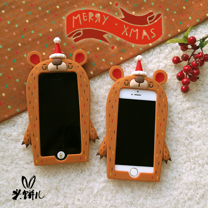 [New] cute cartoon silicone rice cakes children christmas bear iphone6/6 s new phone shell