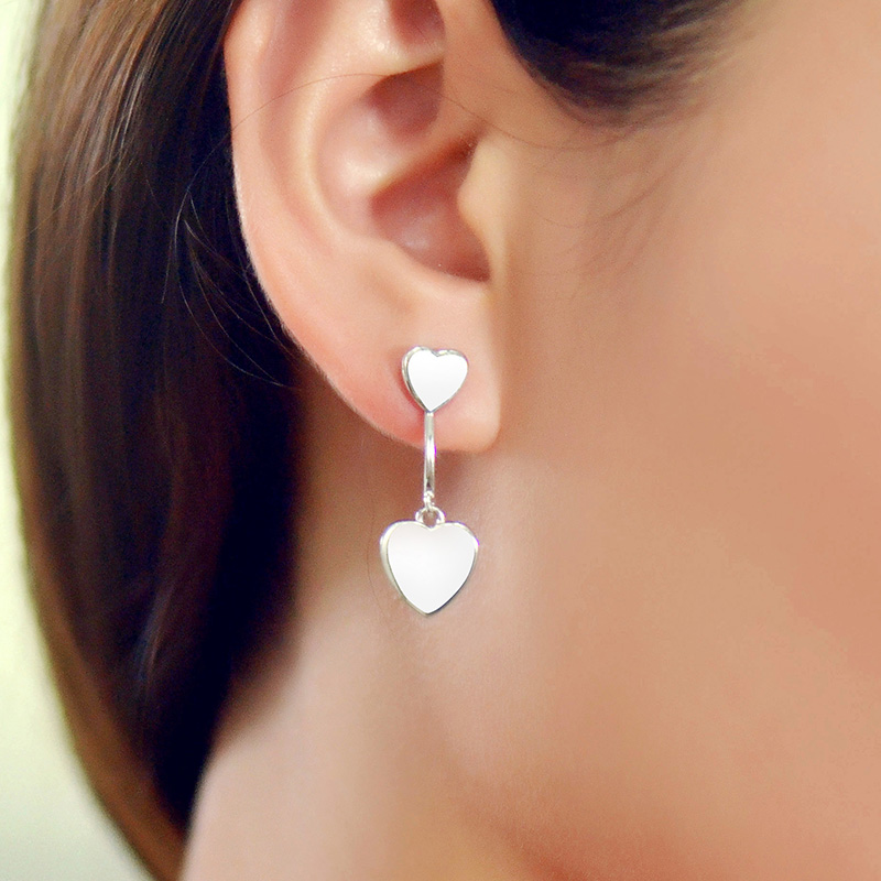 New cute classic pure love s925 silver earrings fall female models south korean version of sweet peach heart earrings jewelry