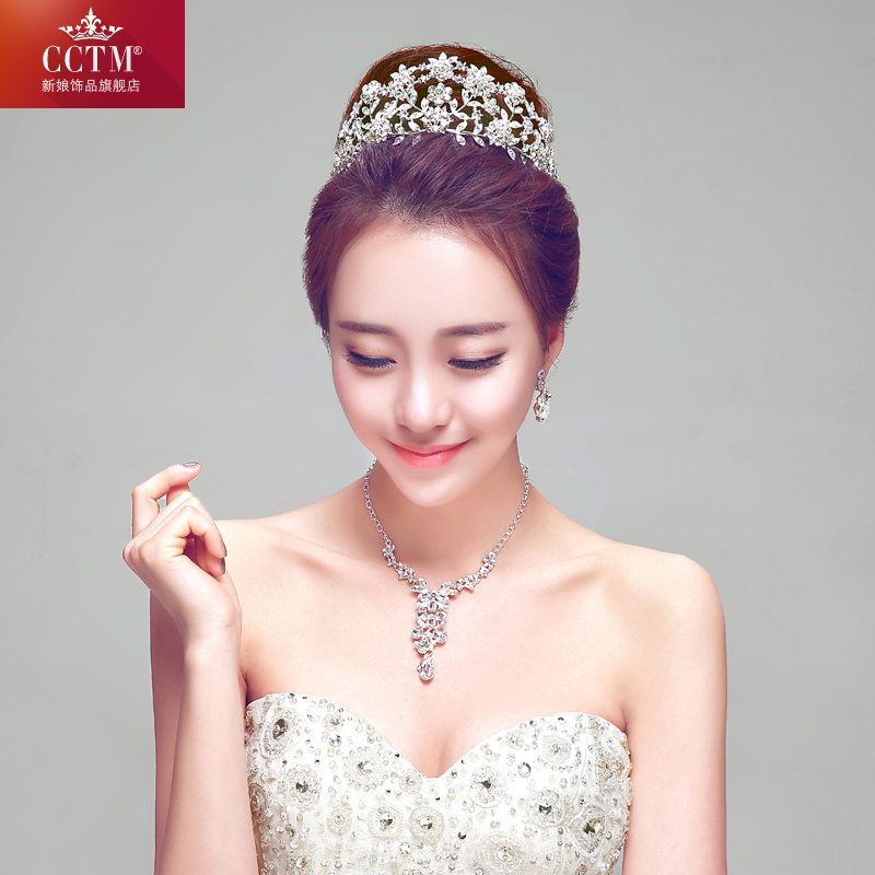 New fashion korean CCTM2016 petals bridal crown three sets of luxury diamond necklace earrings accessories