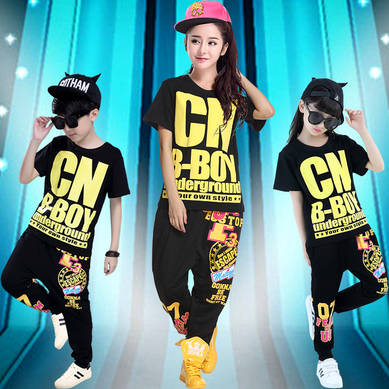 New female student adult children dance hip-hop jazz dance performance clothing stage costumes suit tide