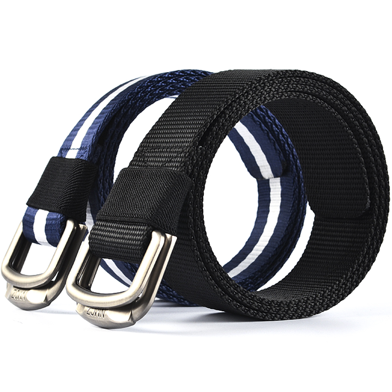 New men's double loop buckle canvas belt belt belt outdoor sports canvas belt braided belt belt influx of men and young students