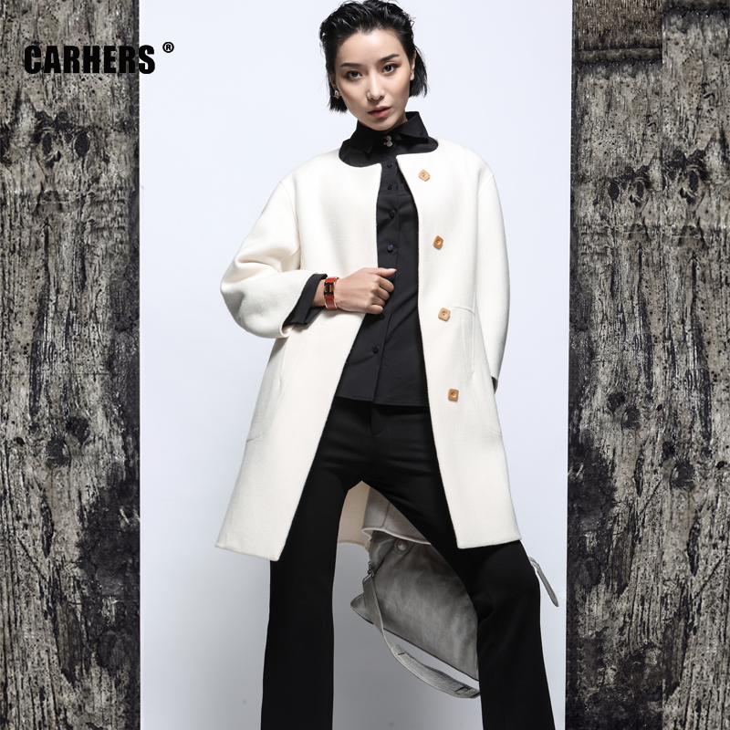 New original carhers models collarless wool silhouette sided wool woolen coat by hand white woolen coat