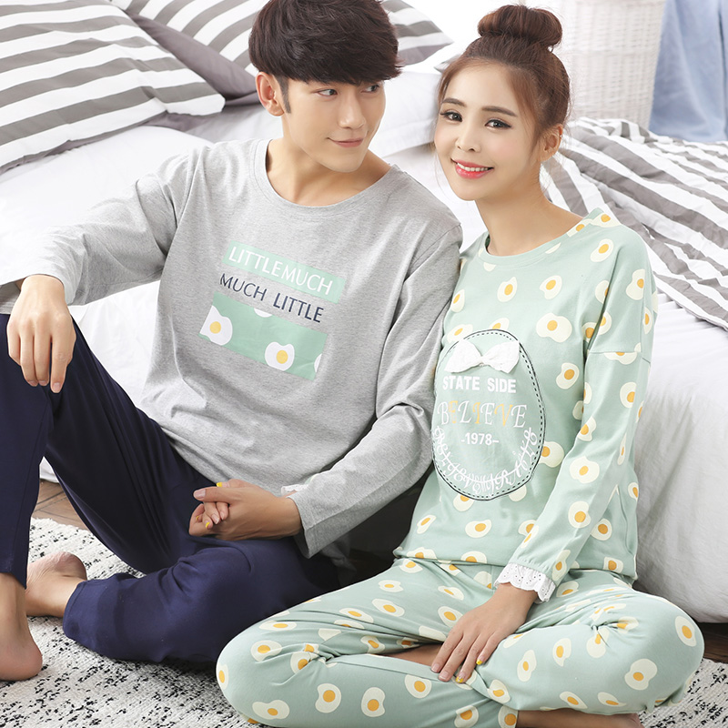New portland spring and autumn long sleeve cotton pajamas cartoon couple male ms. winter sweet casual tracksuit suit