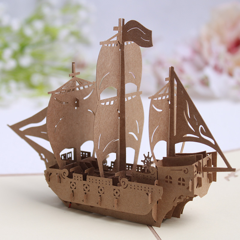 New products minnie 3d stereoscopic handmade paper cutting engraving greeting card thanksgiving greeting postcard business vintage sailboat