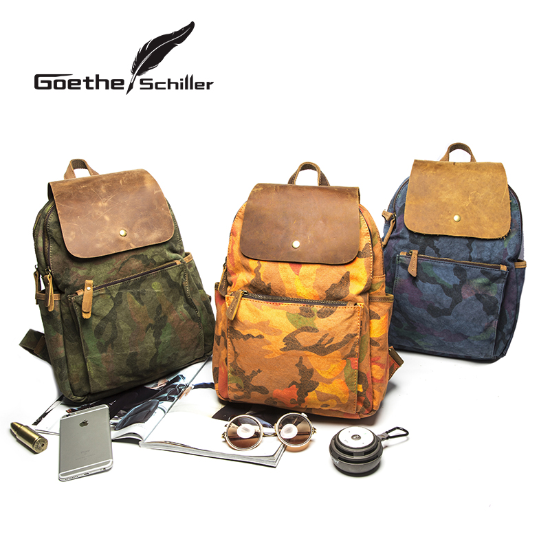 New retro canvas shoulder bag leisure backpack couple models camouflage pattern spell leather man bag fashion hand bag