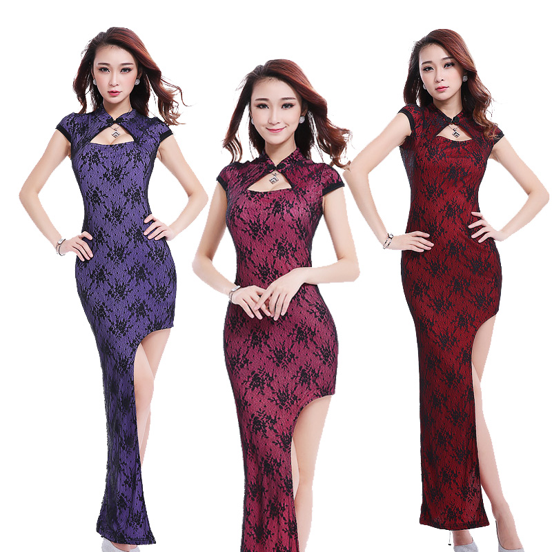 519f432bb96 Get Quotations · New retro cheongsam dress long section of the slim sexy  lace dress slit dress wedding dress