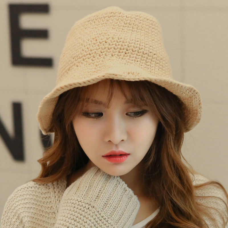 New south korean bow new winter warm wool hat bucket hats hat foldable hat female elegance