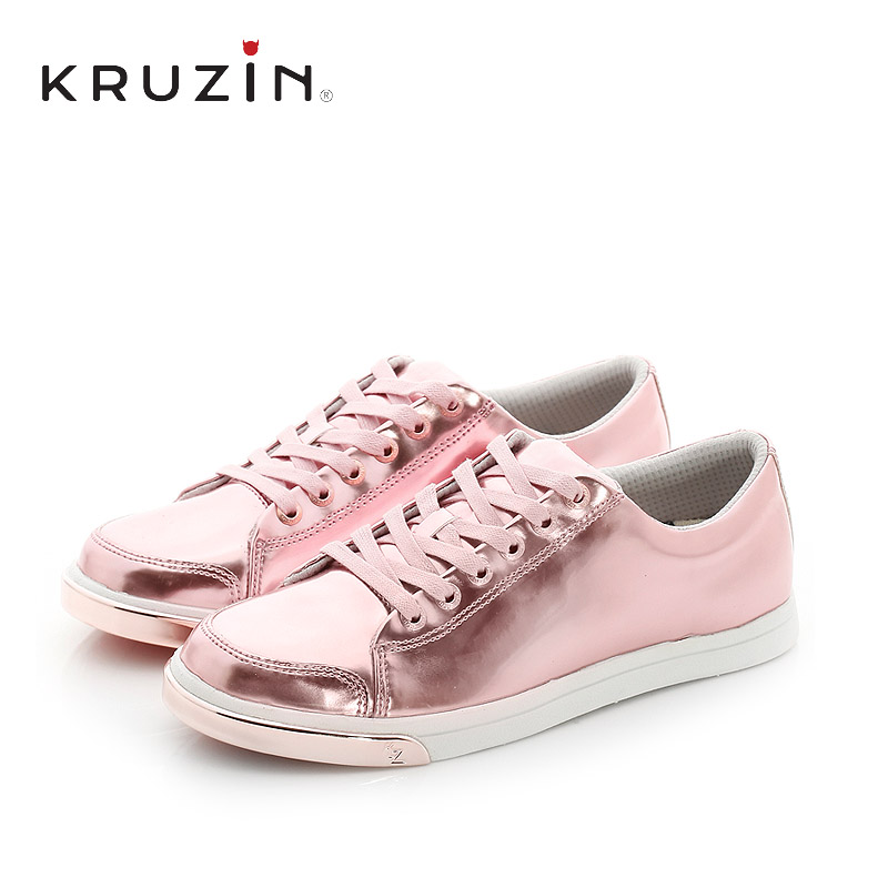 New spring and summer KruZin2016 rose gold european and american fashion casual shoes women flat shoes to help low tide lace shoes
