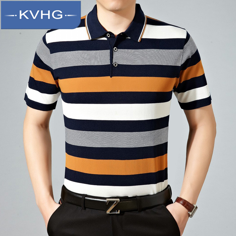 New summer fashion loose iron middle-aged father loaded thin section KVHG2016 wild striped shirt polo 5769