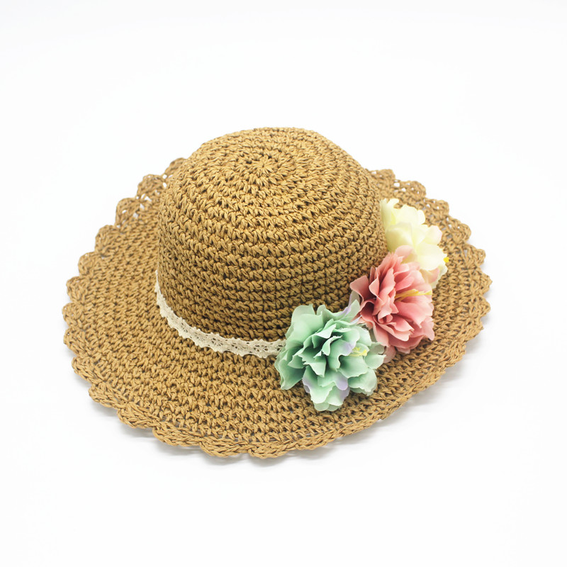 New summer flowers korean girls aged 6  straw hat summer beach hat folding straw hat children