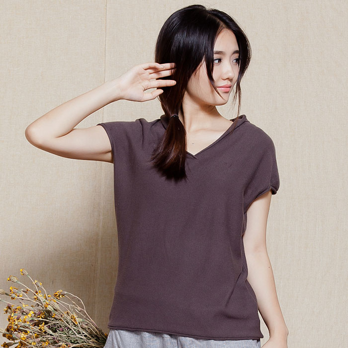 New summer mak inner style cotton loose thin section hedging sweater female hooded short sleeve