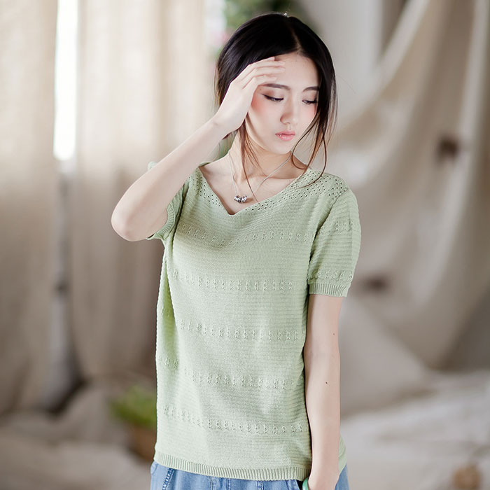 New summer mak inner style pure cotton thread thin section hedging loose collar short sleeve summer women's sweaters
