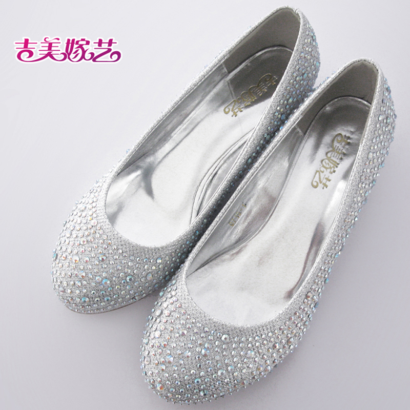 New wedding shoes wedding shoes bridal shoes with silver in the 07191 korean version of the new female wedding shoes