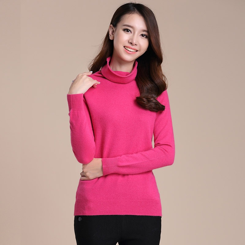 New winter female high collar sweater bottoming shirt knit cashmere sweater piles collar cashmere sweater pullover sweater female