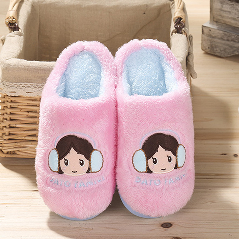 New winter men and women cute cartoon couple cotton slippers winter indoor habitat home warm wool slippers thick bottom