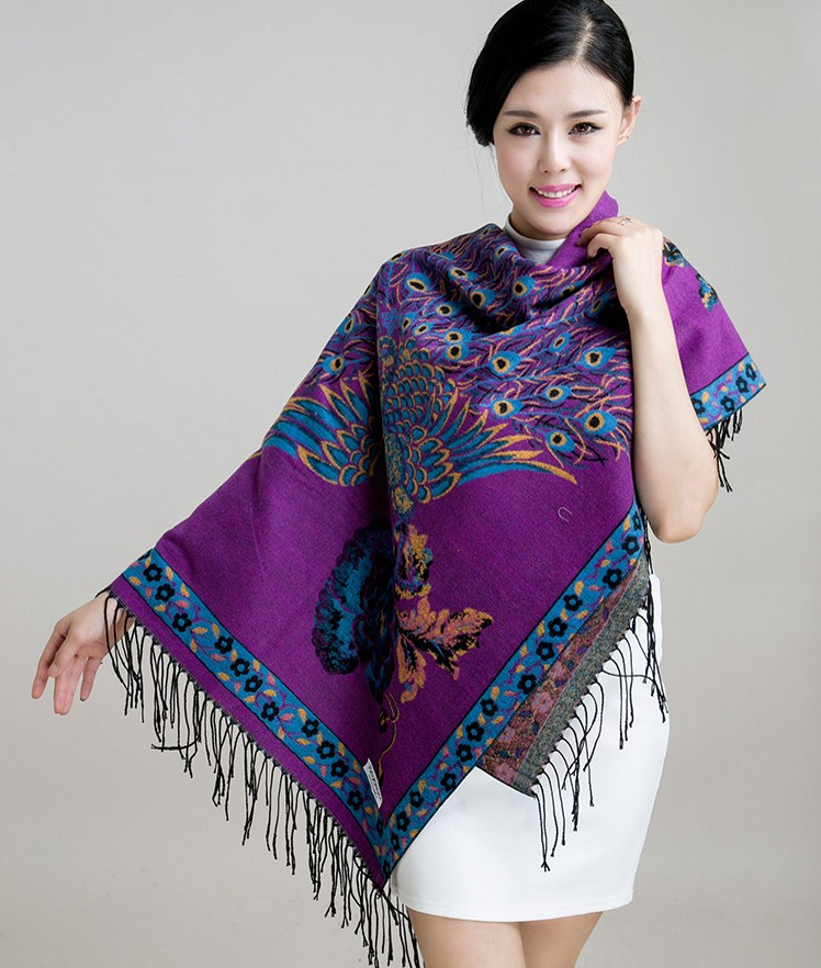 New winter peacock print two with increased thickening large square scarf shawl cashmere scarf korean handbag