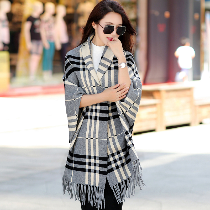 New winter thick needle sweater long sleeve cardigan female fringed cape fringed shawl scarf knit sweater coat tide