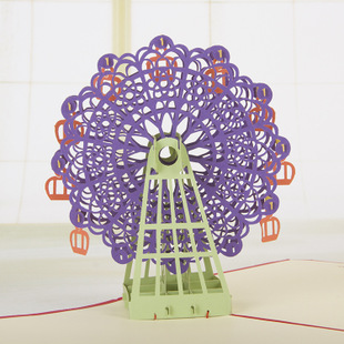 New year's valentine's day birthday teacher christmas ferris wheel stereoscopic 3d paper sculpture greeting postcard invitations wedding invitations
