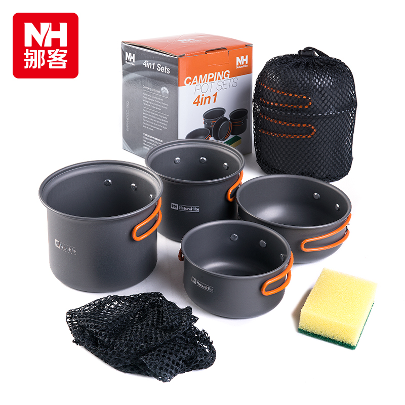 Nh move off four combinations of barbecue picnic tableware cookware portable outdoor camping cookware cookware two or three people