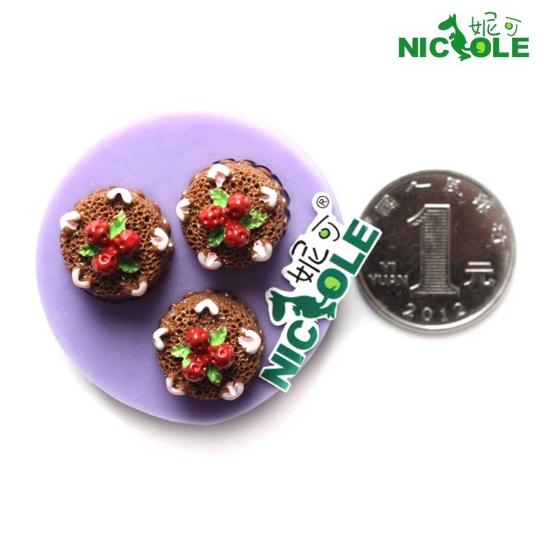 Nicole diy mini strawberry chocolate cake mold silicone mold hole mini silicone mold fondant cake decorating
