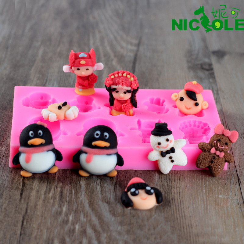 Nicole diy9 even die avatar cartoon penguin handmade chocolate mold chocolate mold silicone mold fondant cake decorating