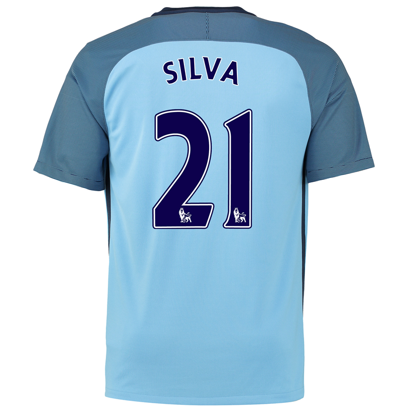 201a90fc18b Get Quotations · Nike manchester 16-17 silva no. 21 season home jersey  short sleeve soccer jersey