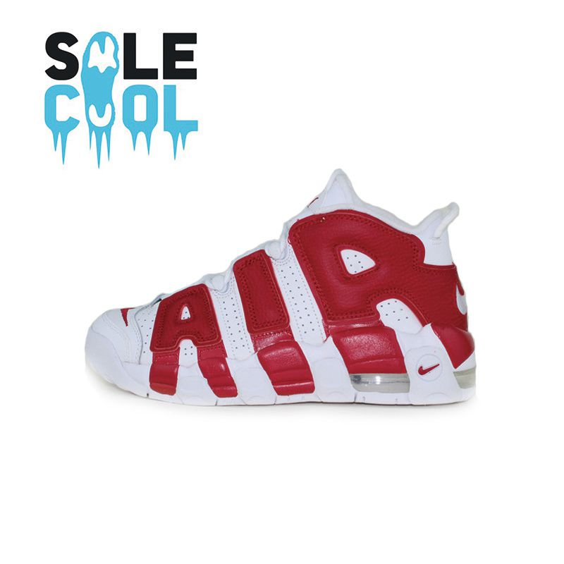 Nike nike air more uptempo pippen big air basketball shoes white black and red 415082-100