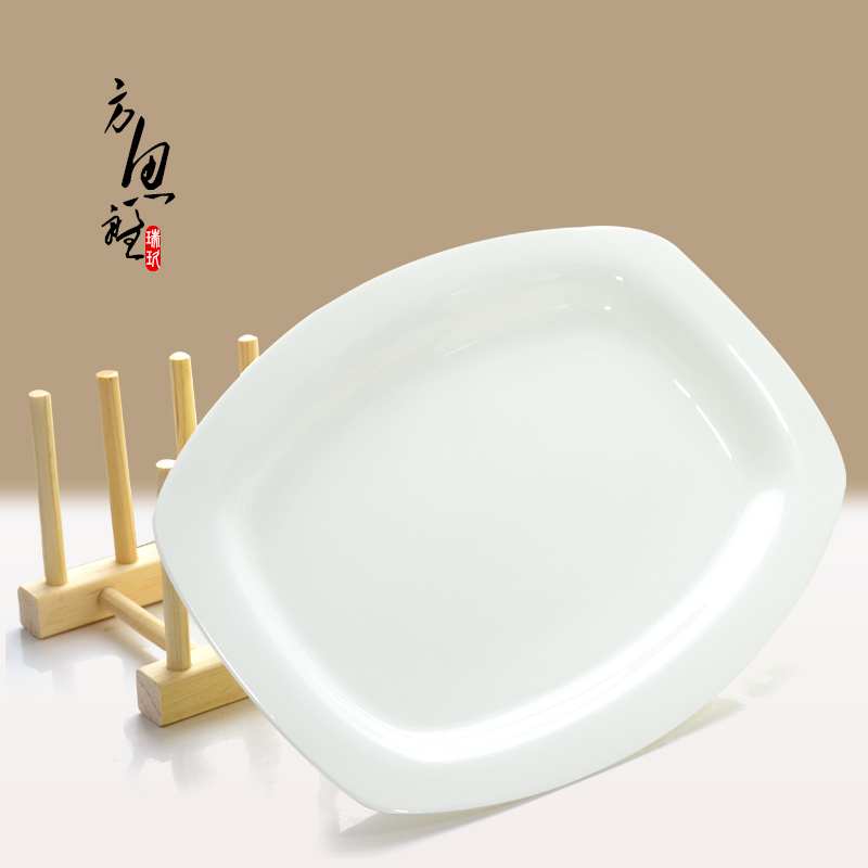 Nine swiss white creative unleaded tangshan bone china 12.5 square inch bone china fish dish rectangular fish dish japanese fish dish