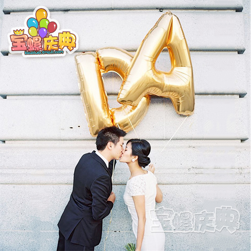 No. 32 english letters aluminum balloons aluminum foil aluminum foil balloons arranged marriage room wedding wedding party