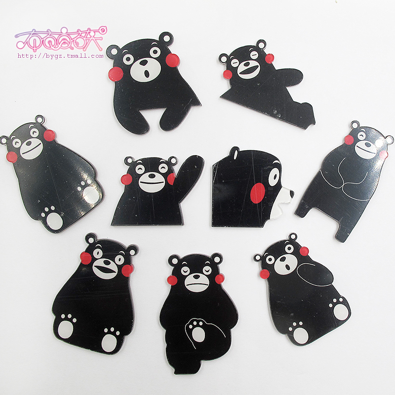 No pin acrylic patch kumamoto bear meng pet big black bear bear keychain pendant ornaments diy
