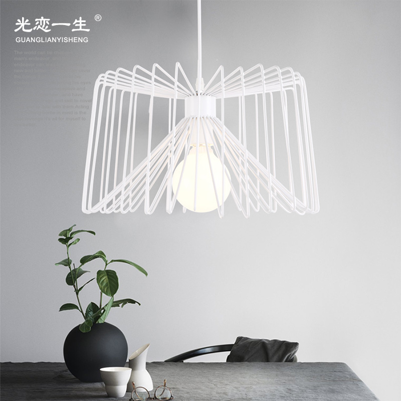 Nordic american retro minimalist personality loft wrought iron chandelier single head small chandelier modern minimalist black and white dining room lights