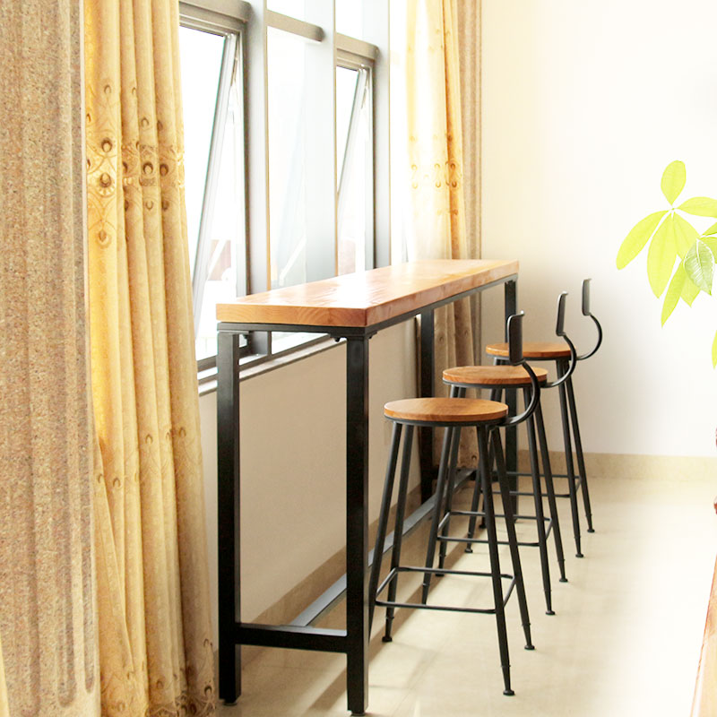 Nordic simple wrought iron wood bar table against the wall starbucks cafe tables and chairs combination bar stool chair