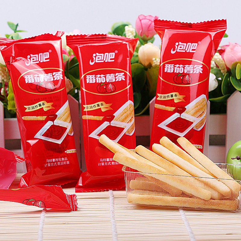 Not fried fries tomato sauce fries clubbing tomato about 35g fujian specialty meat muffin zero puffed food