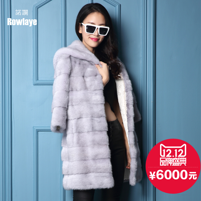 Novo lan 2015 new haining whole mink mink fur and long sections hooded mink fur mink coat the entire