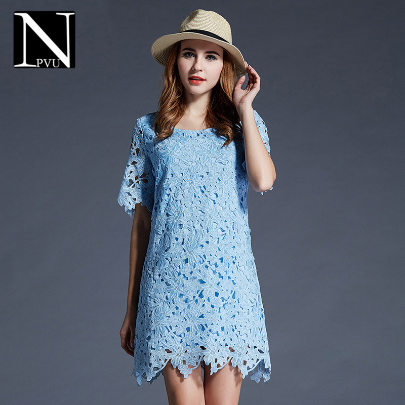 Npvu fashion solid color large size women 2016 summer new solid color openwork lace fight pick dress tide 2554