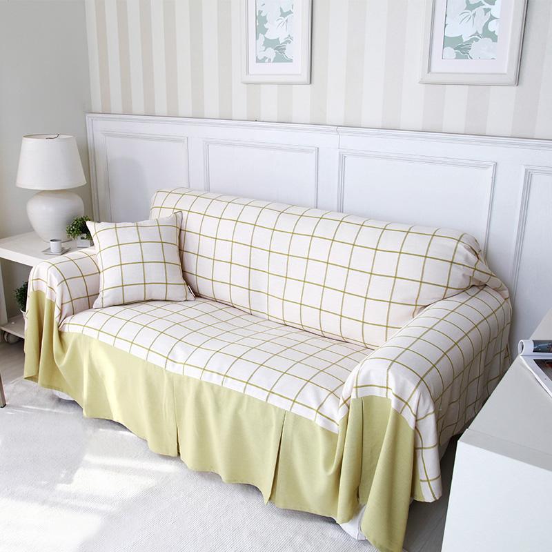 Buy Nuomai di matcha green green grid linen towel sofa cover ...