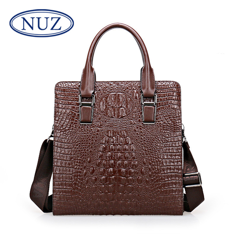 Nuz backpack fashion men's messenger bag shoulder bag korean version of the trend crocodile bag casual bag 3593