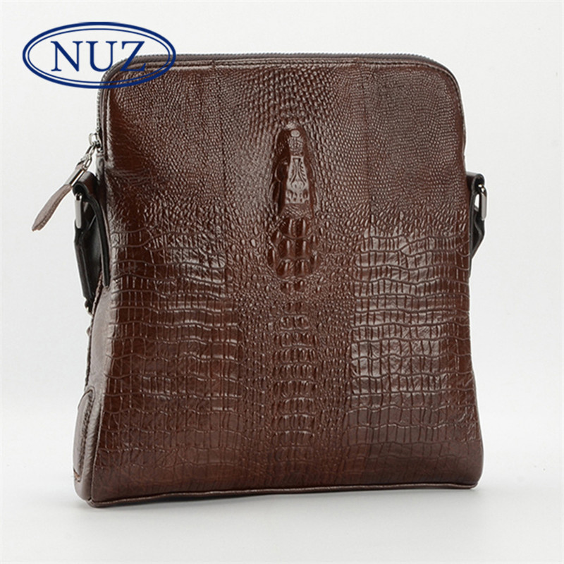 Nuz brand hong kong crocodile pattern leather man bag european and american style wild first layer of leather shoulder messenger bag tide 9409