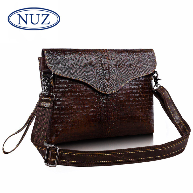 Nuz classic crocodile men's business casual solid color mini packet header layer of leather messenger bag handbag 7351