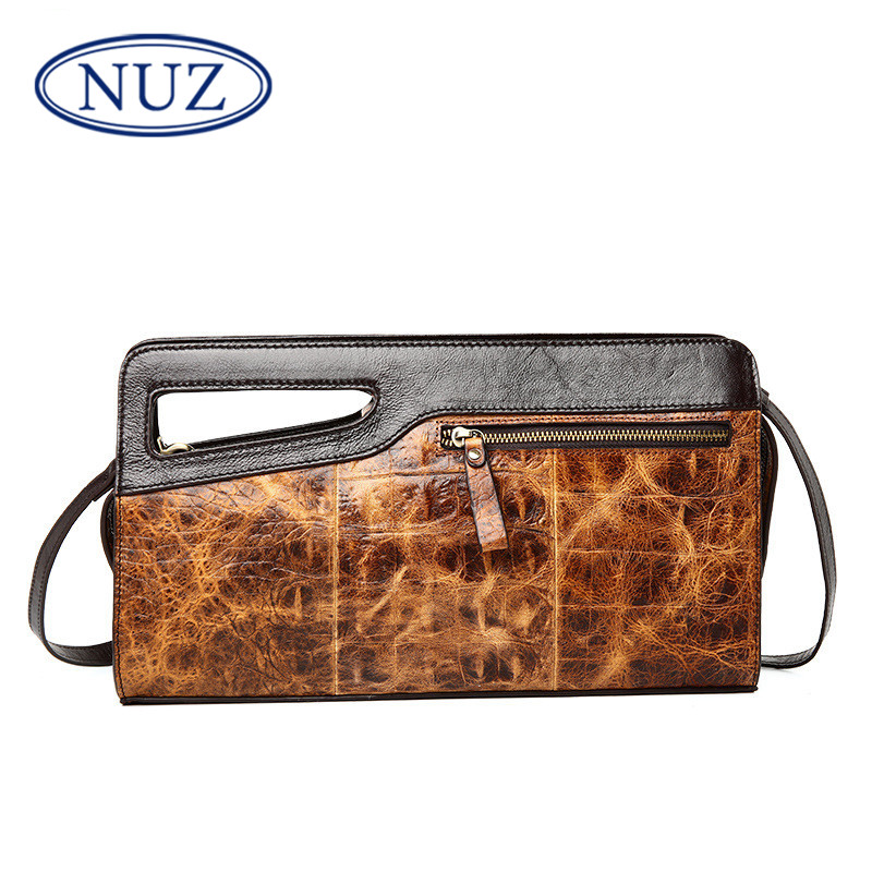 Nuz crocodile zipper ms. retro leather casual handbags 2016 new hand bag messenger packet 7673