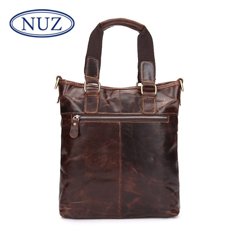 Nuz dermatolyphic solid color men's business briefcase leather handbag vertical section square dig bag messenger bag man bag 9627