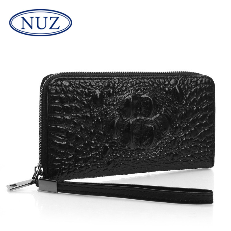 Nuz first layer of leather men's long wallet 2016 new classic solid color leather crocodile pattern leather clutch 7486