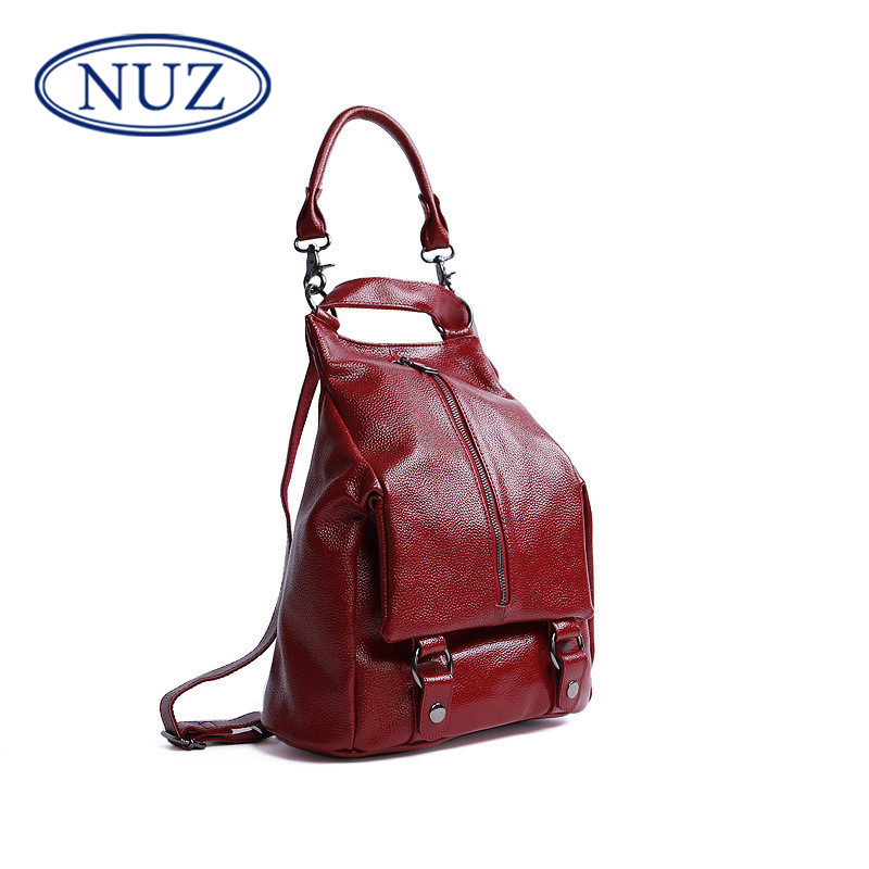 Nuz leather handbags 2016 new korean version of the simple wild embossed leather shoulder bag travel backpack 5 049